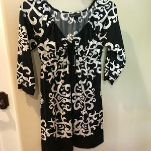 INC. Black and White Stretchy Dress